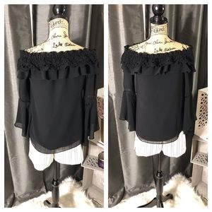 WHBM Off the Shoulder Ruffle Trim Bell Sleeve Top